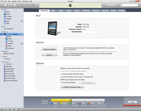 Synchronize ipad with itunes