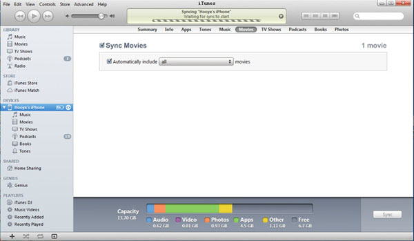 how to delete movies from itunes sync list