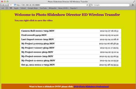 ipad video list on computer browser