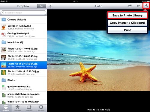 upload galaxy note photo to dropbox