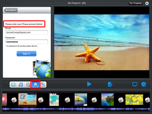 enter picasa account information